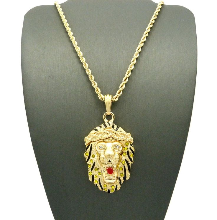 Mejores 13 imgenes de hip hop jewelry en pinterest querubn yellow stone stud roaring lion pendant 3mm 24 rope chain necklace in gold tone aloadofball Images