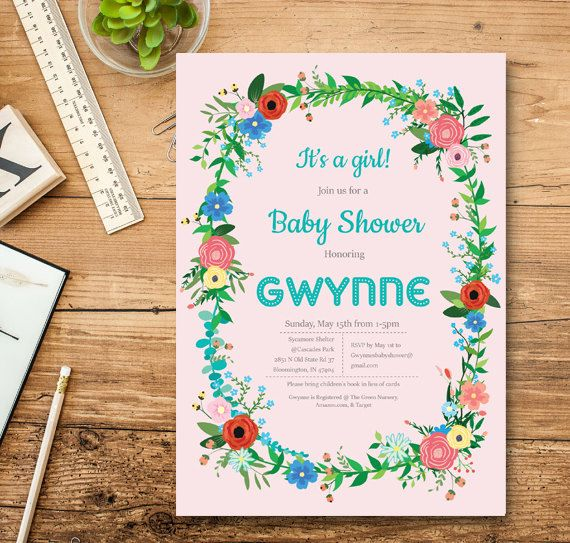 Baby Shower Invitation boy. Baby Shower by TheCutePaperStudio Baby Shower Invitations For Girls