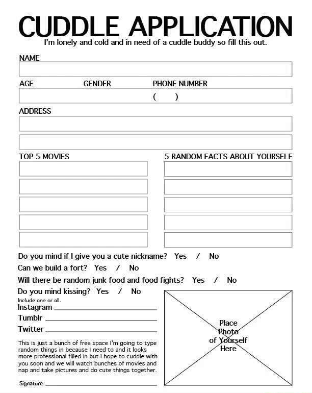 cuddle buddy applications  YOU GUYS THOUGHT I WAS KIDDING ABOUT THE CUDDLE BUDDY APPLICATION ...
