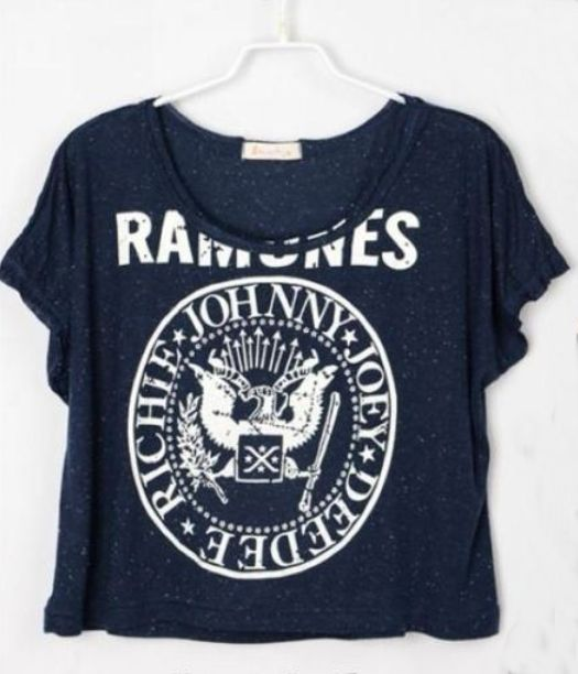 Navy Letters Printed Crop Batwing T Shirt - Sheinside.com I've always wanted a ramones shirt but it always seemed too clichè since a lot of people wear them just to be cool..