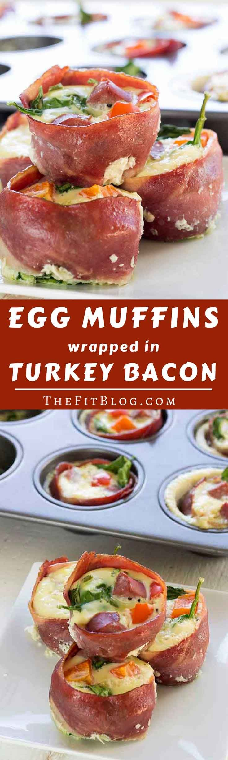 Healthy Egg Muffins With Lean Turkey Bacon - These healthy egg muffins take hardly any effort to make, taste amazing, and can be stored and reheated the next day. What more could you wish for in a recipe? (low carb, high protein, paleo, gluten free, diabetes friendly) via @TheFitBlog