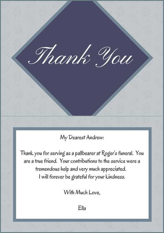 Examples Of Thank You Letter For Pallbearers