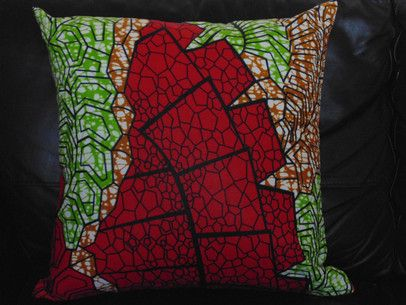 Red and  Green African Print Pillow Cover  from  $15 and up