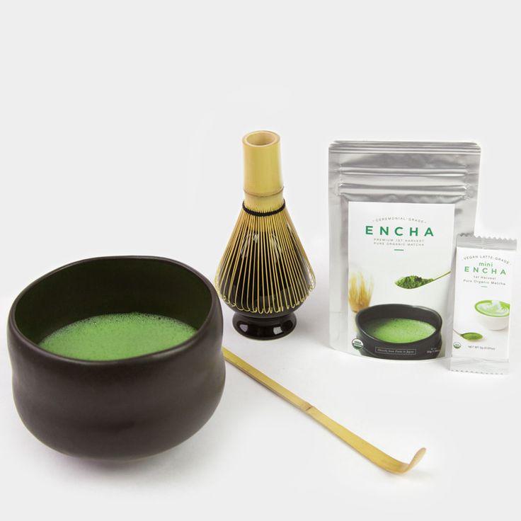 Matcha set with organic ceremonial Encha Zen bowl chawan
