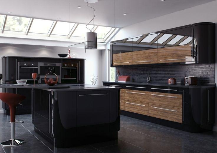 Cuisine noire et bois style minimaliste
