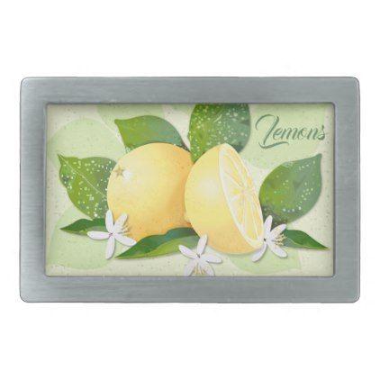 Lemon Citrus Fuit Botanical Floral Garden Green Belt Buckle - flowers floral flower design unique style