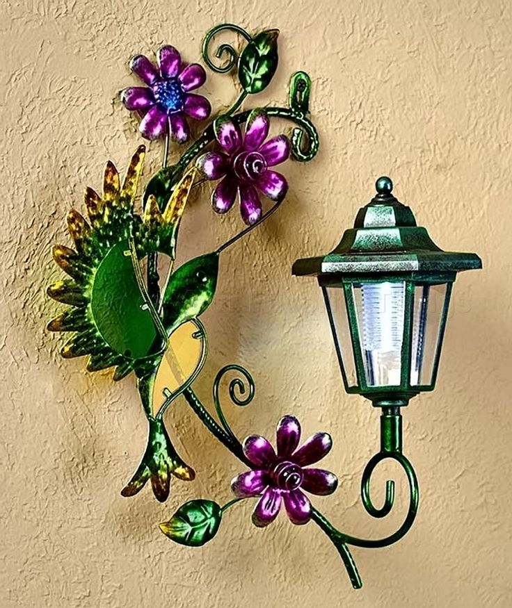 Hummingbird Solar Wall Lantern Light Yard Porch Patio Deck