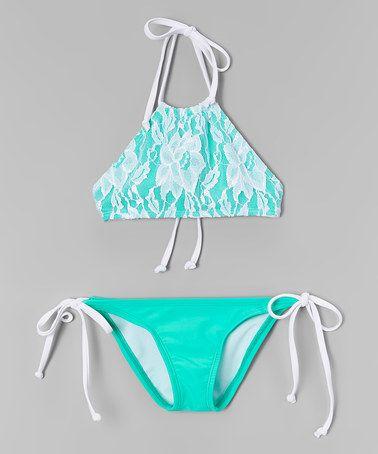 Look at this #zulilyfind! White & Mint Floral Lace High-Neck Bikini - Toddler & Girls #zulilyfinds
