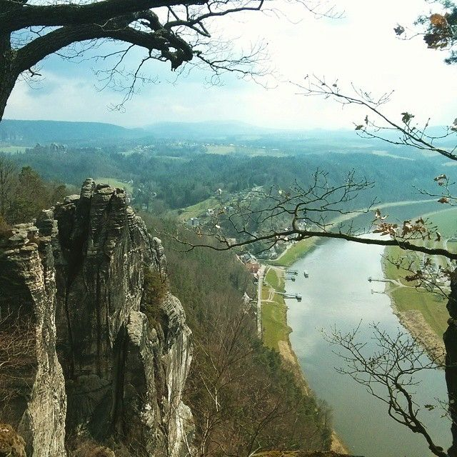 "These amazing rocks near Dresden are called Bastei, and this Natural Park is worth a visit! (Similar to ""los Mallos"" in Spain)"