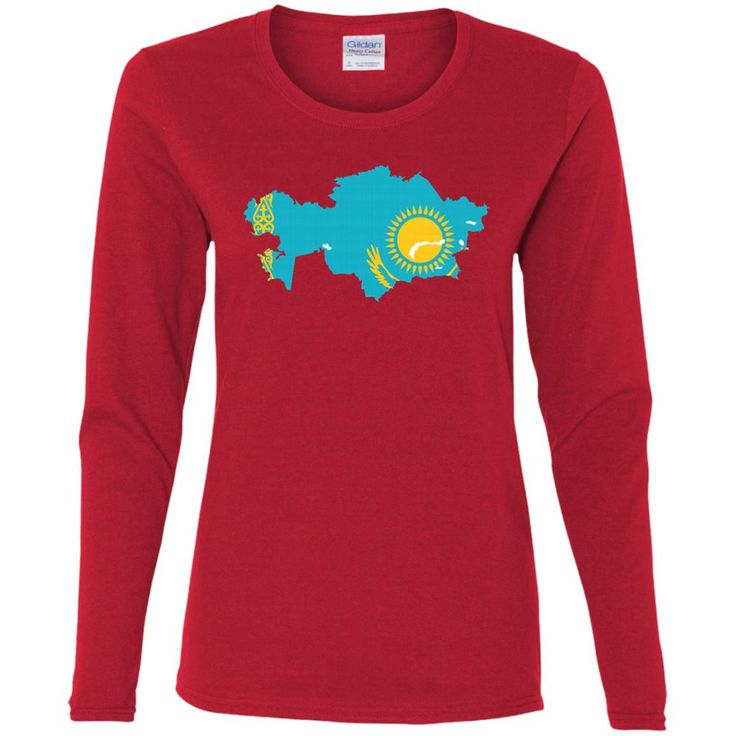 Kazakhstan flag-01 G540L Gildan Ladies' Cotton LS T-Shirt