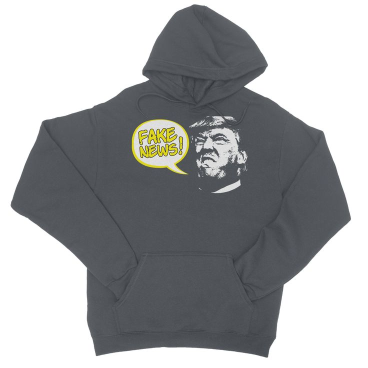 Fake News Trump, Cartoon Style trump Face, With Bubble, College Hoodie
