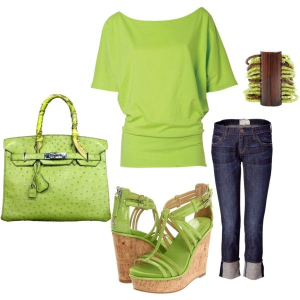 Outfit- I Love Green!!!: Fashion, Design Shoes, Green Outfits, Colors, Cute Outfits, Limes Green, Outfits Ideas, Spring Outfits, While