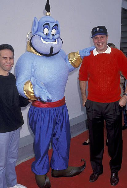 Michael Eisner Gilbert Gottfried during 'Aladdin' Benefit Premiere at El Captian Theater in Hollywood California United States