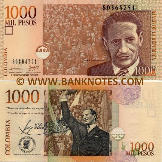 Colombia 1000 Pesos 2006 ~ Front: Jorge Eliécer Gaitán; crowd of people. Reverse: Liberty; Jorge Eliécer Gaitán addressing the crowd. Watermark: Portrait of Jorge Eliécer Gaitán. Printer: Imprenta de Billetes - Banco de la Republica.