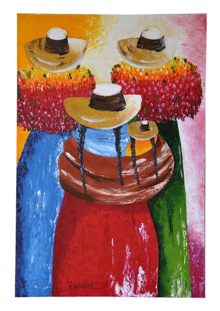 cholitas peruanas cuadro pintado al oleo espatulado sobre lienzo