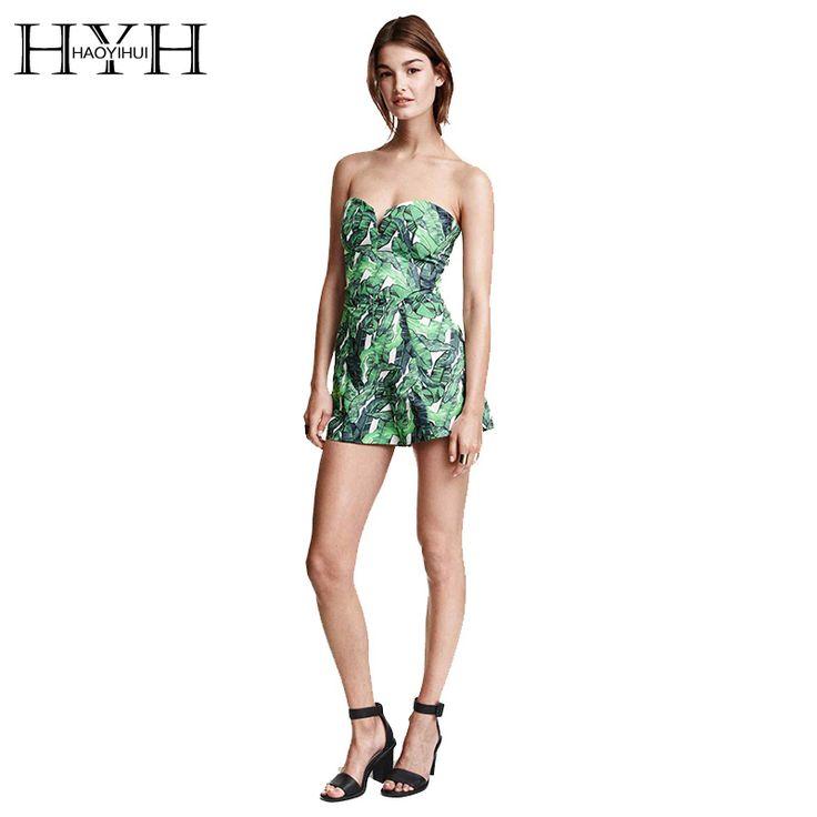 Hyhスイートハートネックラインプリント女性ジャンプスーツストラップレスファッションショートロンパース2017新しい到着haoyihui 15150c294