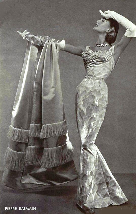 1955 Pierre Balmain 50s evening dress column sheath shelf bust white brocade wrap model magazine designer vintage fashion