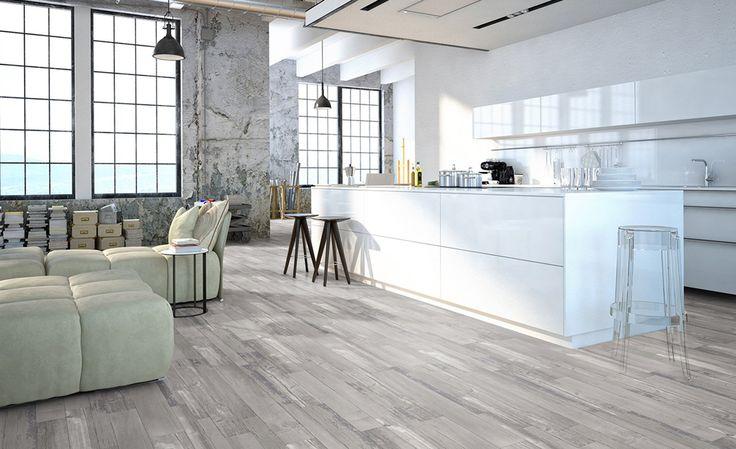 Sol vinyle TEXLINE, bois peint gris, rouleau 2 m | Saint Maclou