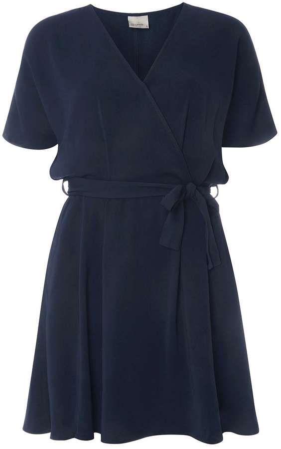 Vero Moda **Vero Moda Navy Short Sleeve Wrap Skater Dress
