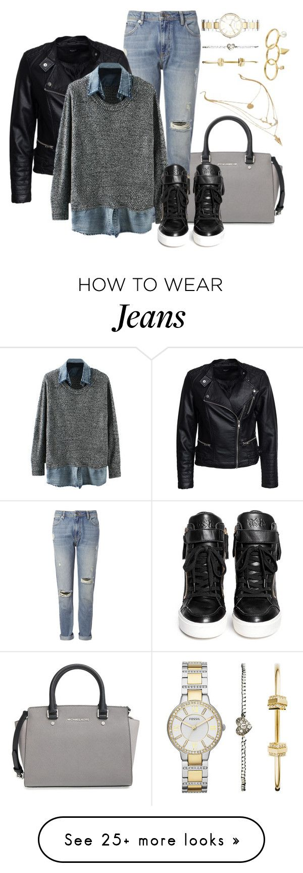 """""""jeans1"""" by yanoch on Polyvore featuring MICHAEL Michael Kors, Whistles, Sisters Point, Ash, FOSSIL and Rebecca Minkoff"""