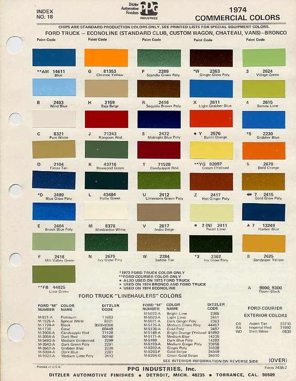 1974 Ford Paint Colors Vehicles Of Trucks And Bronco