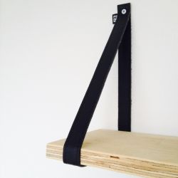 Set van 2 leren plankdragers | Zwart