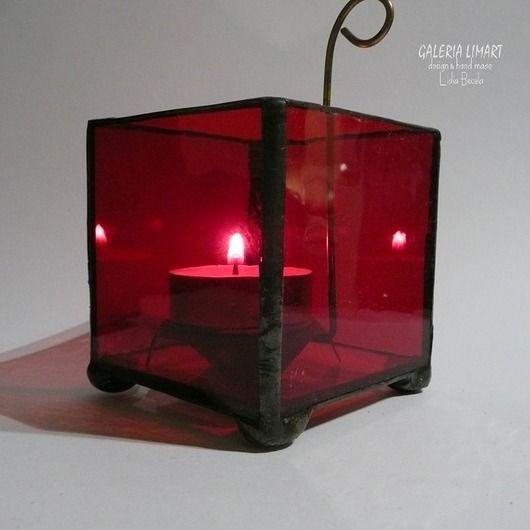 The charm of simplicity :) blazing ruby. magical chandelier made of stained glass in the gorgeous ruby color //  Urok prostoty :) płonący rubin. Magiczny świecznik zrobiony ze szkła witrażowego w bosko rubinowym kolorze