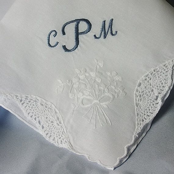 Maid of Honor Wedding Hankie Handkerchief Embroidered with her initials by CoutureWeddingHankie www.CoutureWeddingHankie.etsy.com