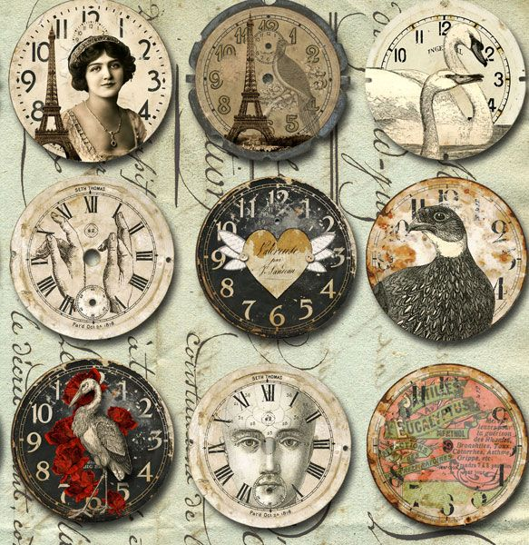 DIY Altered CDs with Printable Clock Faces Transferred or Decoupaged on