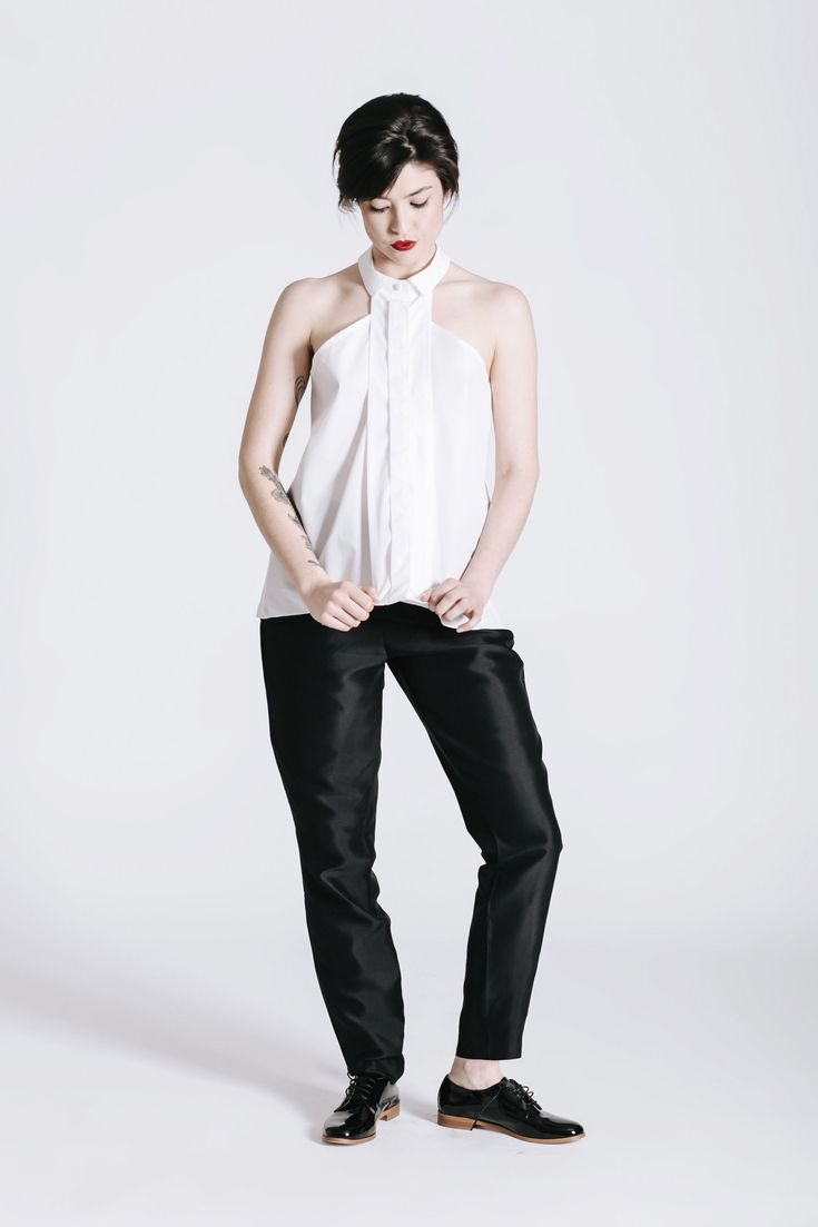 Androgynous Style. Wedding outfit. tie front shirt. Women's shirt. Same-sex wedding idea.