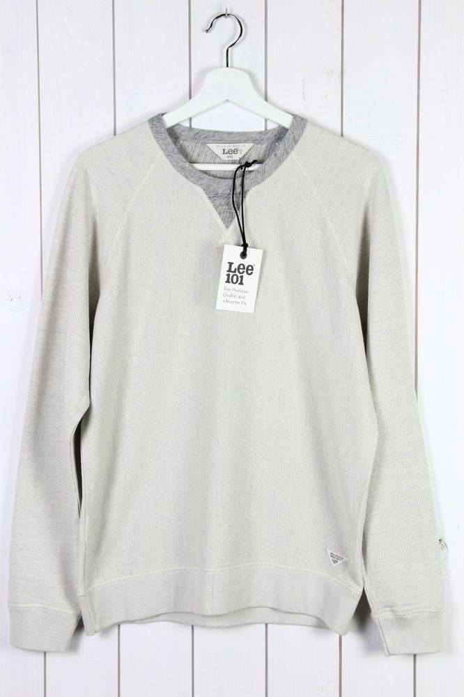 NEW LEE 101 CREW NECK SWEAT SHIRT JUMPER LONG-SLEEVE  ECRU/GREY  S/M/L/XL/XXL