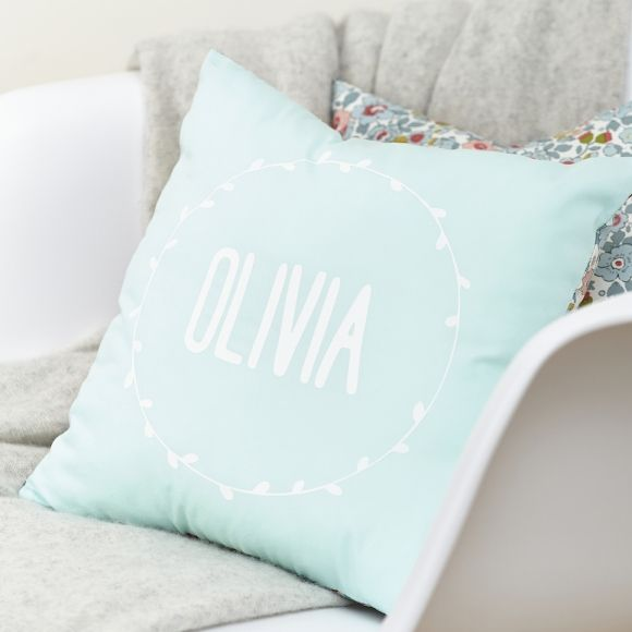 Mint personalised Liberty cushion
