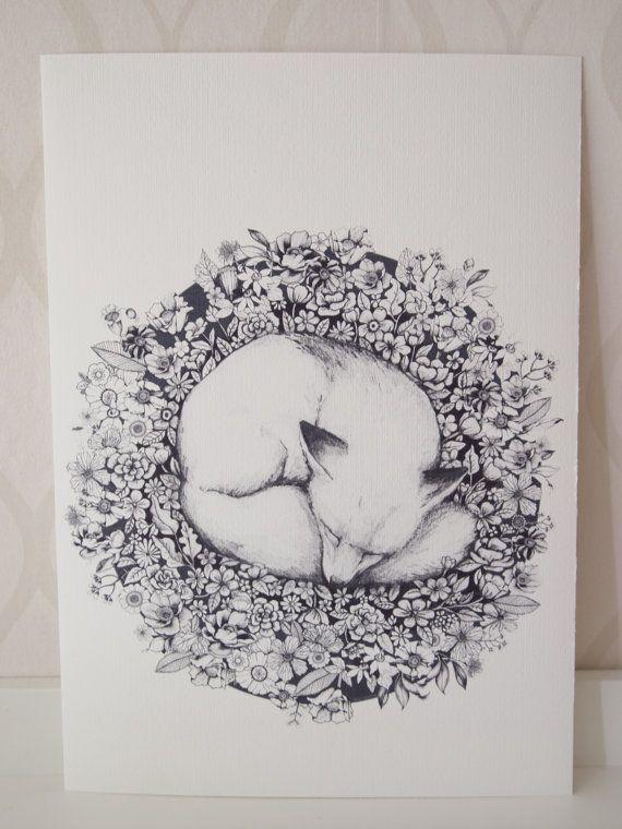 Fox Figure Sleeping in Flowers Cute Animal Art by Linnwarme