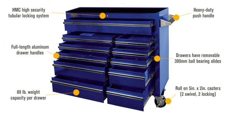 Features for Homak Pro Series 41in. 11-Drawer Rolling Tool Cabinet — Blue, 42in.W x 18 1/8in.D x 38 3/4in.H, Model# BL04011410