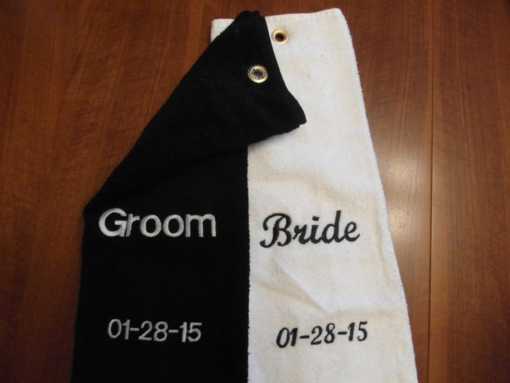 A personal favorite from my Etsy shop https://www.etsy.com/listing/217449718/custom-golf-towel-bride-and-groom-golf