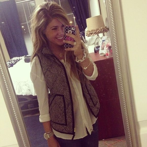 J. Crew Herringbone Puffer Vest  This vest is a closet must have! Perfect for fall  and for the holidays ⛄️ this vest is NWT and has never been worn. Straight out of the packaging! Goes with everything! Don't miss out on this beautiful must have!! Comes from a smoke free & pet free home! Price firm.  NO TRADES  J. Crew Jackets & Coats Vests