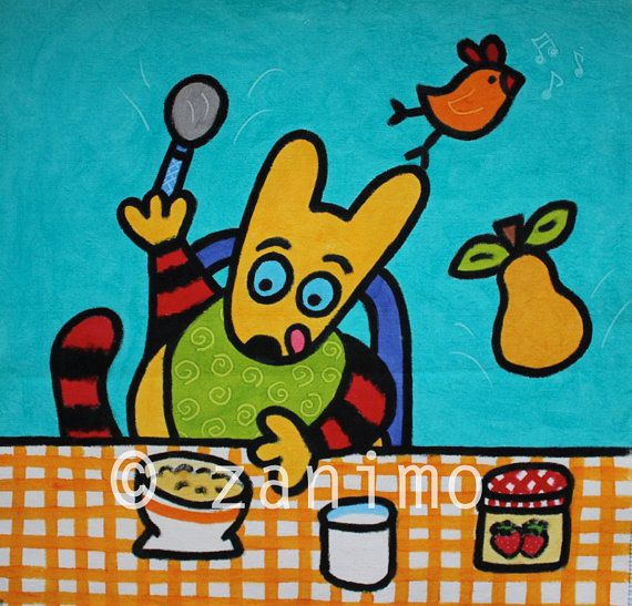 Maki's breakfast colorful print kitchen by Zanimo on Etsy, $15.00
