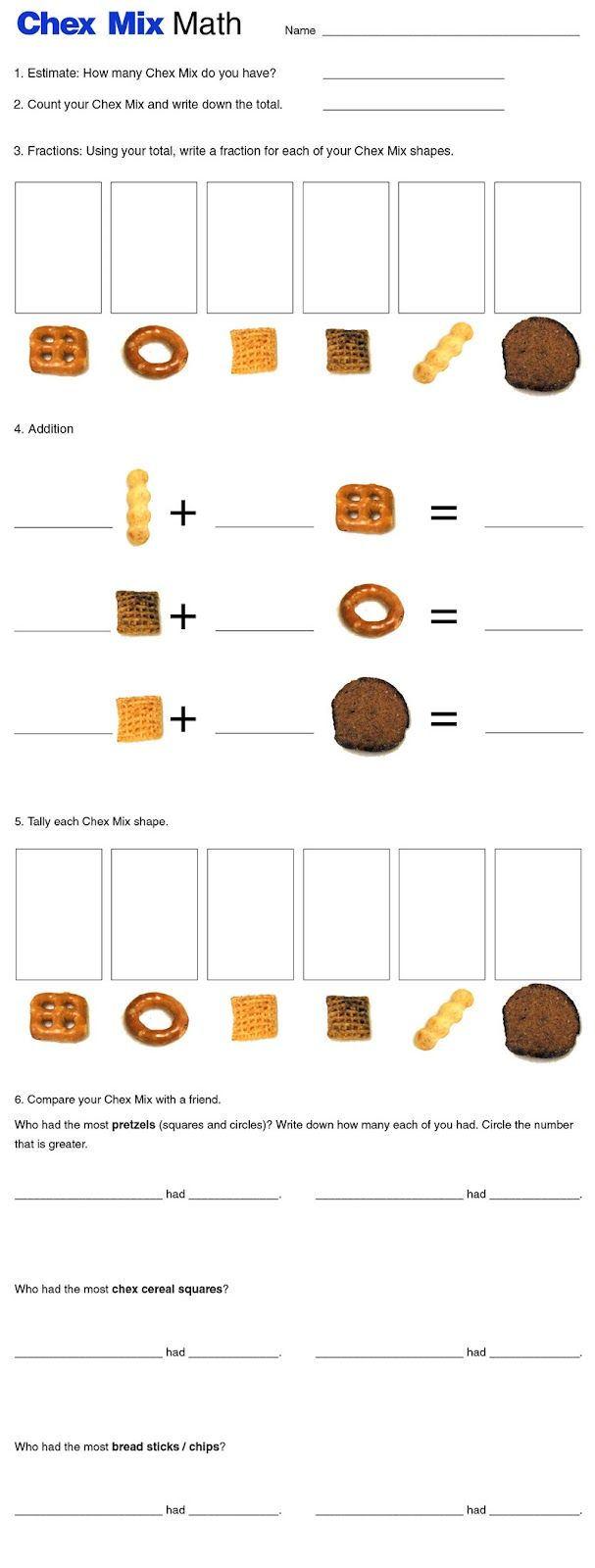 Chex Mix Math : fun review activity --> estimate, write fractions, add, tally, sort, and compare!