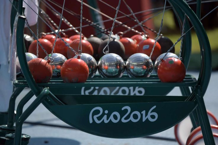 A general view of hammers on a rack during the men's hammer throw qualifications in the Rio 2016 Summer Olympic Games at Estadio Olimpico Joao Havelange.