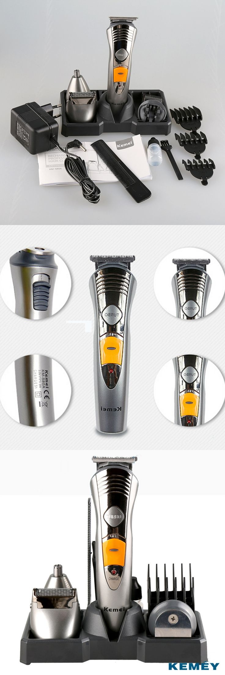 Kemei Rechargeable Electric Clipper Hair Trimmer Beard Shaver Nose Hair Trimmer 7 in 1