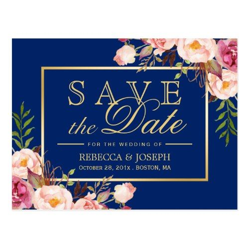 Typography Save the Date Wedding Invitation Pink Floral Gold Royal Navy Blue - Save the Date Postcard