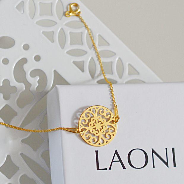 Bransoletka złota z rozetą. Cena 109zł. Kup na: http://laoni.pl/bizuteria-azurowa #celebrytka #biżuteria #jewellery #bijou #złoty #srebrny #rozowezloto #bransoletka #rozeta #ślub #wedding