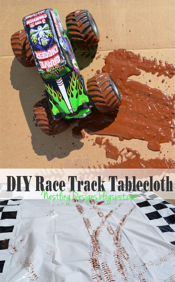 DIY tablecloth with track marks #monster truck #party