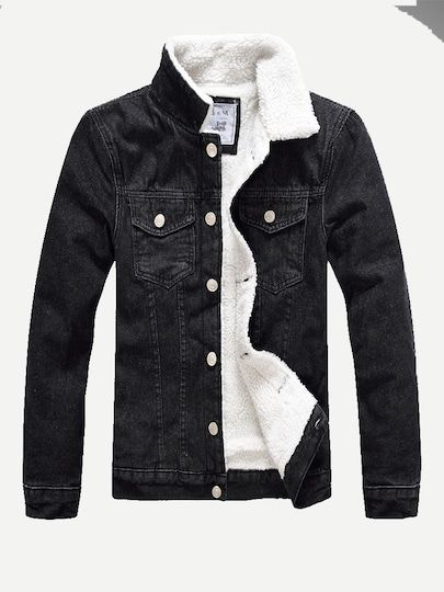 Men Shearling Lined Denim Jacket Shein Sheinside Clothes And