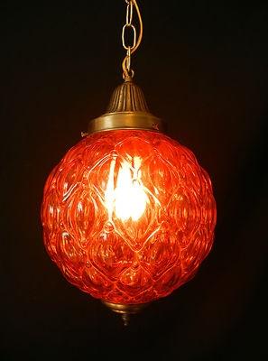 Unique Vtg Mid Century Modern Orange Glass Swag Lamp Retro