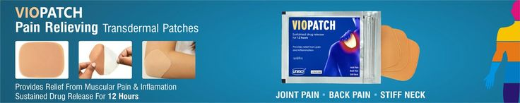 Viopatch Pain Relieving Patches Viopatch is brought to you only for your comfort and relief from aches. This is a transdermal patch that prevents muscular cramps and protects against aches. These patches are made to relieve pain caused from arthritis, joint or muscular aches, stiff neck among others. This is also a knee pain remedy that cures pain from injuries or accidents. Back pains have a full remedy with use of these transdermal patches. Buy these with SafetyKart.com