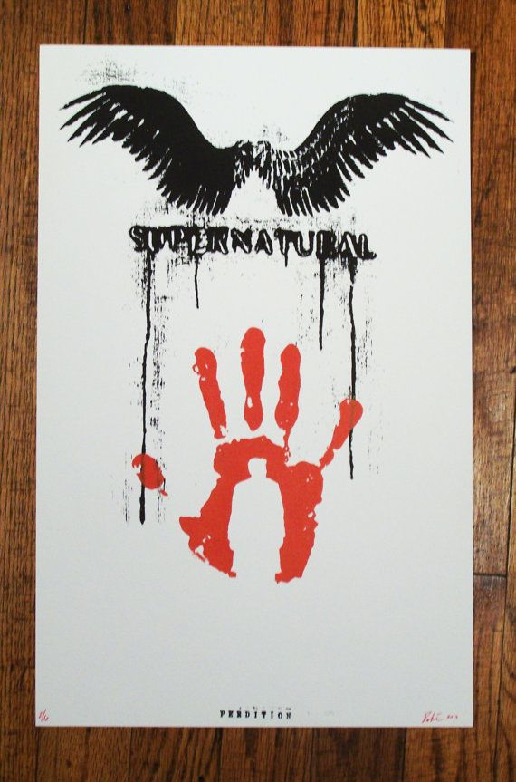 Perdition fine art Screenprint Supernatural Castiel angel wings Limited Edition PAPER PRINT poster