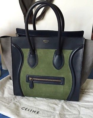 CELINE Luggage Tote Green Blue Grey Tri Color Leather \u0026amp; Suede Mini ...