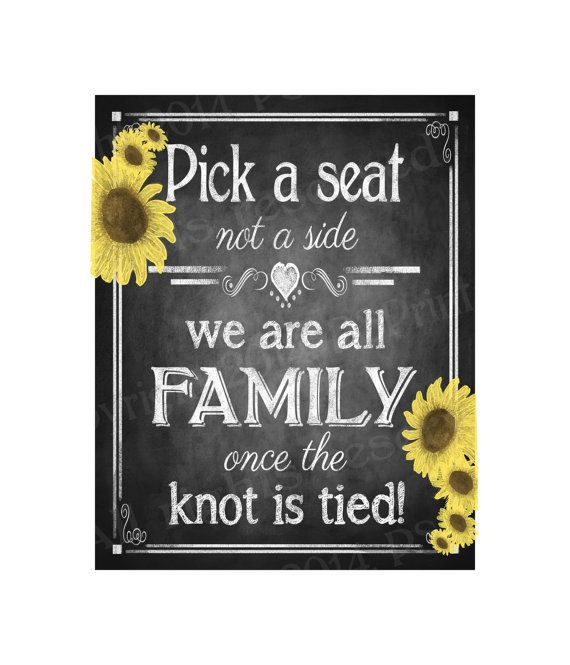 Pick a Seat, Not a side Printable Sunflower Wedding Chalkboard Seating Plan sign - DIY Printable - Rustic Heart Collection