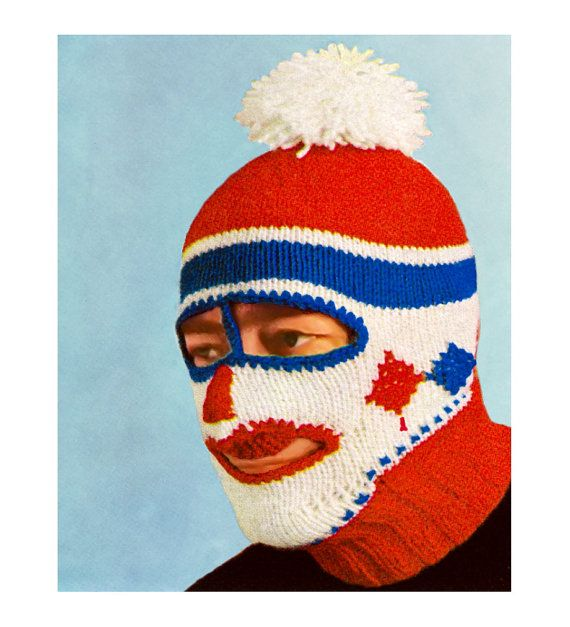 Ski Mask Knitting Pattern : Vintage Knitting Pattern 1960s Ski Mask Balaclava Dickey Helmet Mens Womens D...